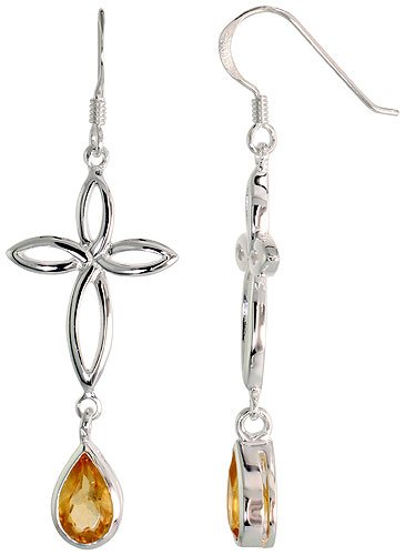 Sterling Silver Celtic Knot Cross Tear Drop Earrings w/ Natural Citrine 2 inch (50 mm) long