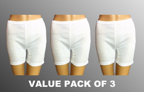 Value Pack Of 3 Ladies Thermal Panties White, Various Sizes