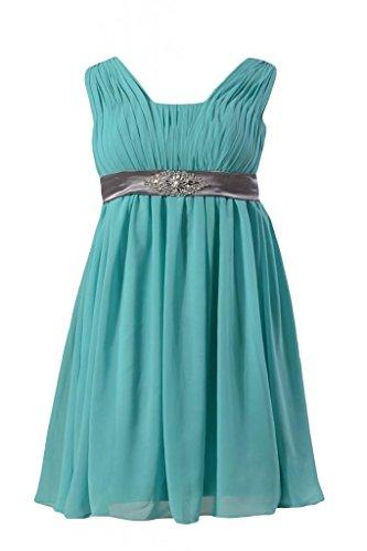 Daisyformals Short Beaded Chiffon Bridesmaid Dress W/Empire Waist(Bm1029S)- Tiffany Blue