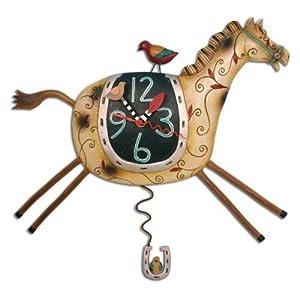 Wanduhr Pferdeuhr Pendeluhr Horse Play Clock Kinderzimmer P8004