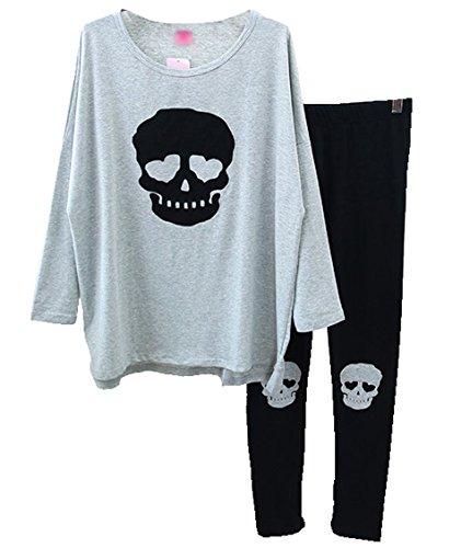 Welity Womens Premium Cotton Punk Skull Pajamas Top Shirt + Leggings Grey