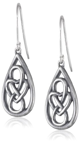 Sterling Silver Oxidized Celtic Knot Teardrop Dangle Wire Earrings
