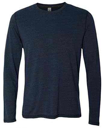 Yoga Clothing For You Mens Moisture Wicking Long Sleeve Navy Tee Shirt by Yoga Clothing For You