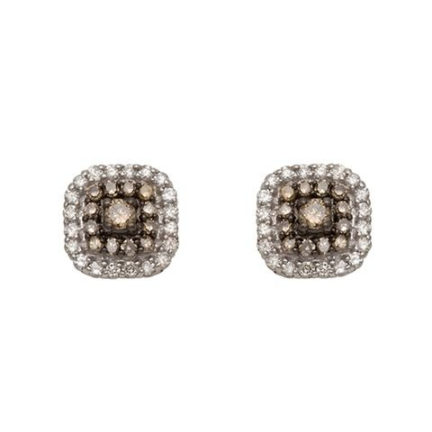 Summer Sale Dollar 399 for 0.40 ct Chocolate Brown Diamond Halo Stud Earrings 10k White Gold – Free Shipping