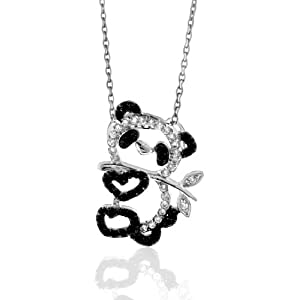 Sterling Silver Black and White CZ Panda Bear Necklace, 18""