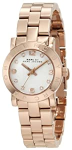 Marc Jacobs Mini Amy White Dial Rose Gold-tone Stainless Steel Ladies Watch MBM3078