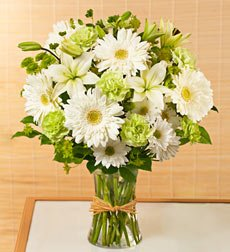 Funeral Flowers by 1800Flowers.com - Serene Green Bouquet for Sympathy