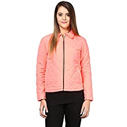 Quilted Women'S Jacket In Pink Color With Front Zipper