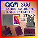 ROTATING 360 CASE PURPLE For AAKASH UBISLATE 7C+ ISCUELA TABLET FLIP COVER