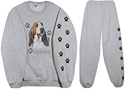 Jerzees Men\'s I Love My Basset Hound Sweatshirt and Sweatpants
