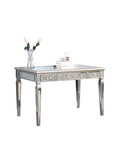 Florentine 3-Drawer Desk, Silver Leaf/Antique Mirror