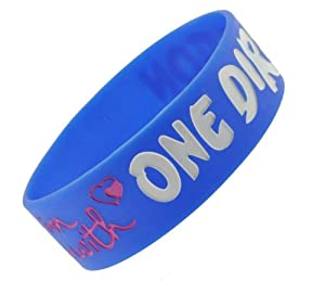 Blue I Love One Direction Wristband I Love One Direction Bracelet 1 Wide 4 from Hinky Imports