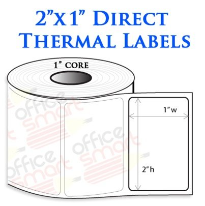 2X1 Direct Thermal Barcode Labels For Zebra Gc420D Gc420T Gk420D Gk420T Gx420D Gx420T Lp2824 Lp2422 Tlp2824 Lp2844 Lp2442 Tlp2844 Zp450 Barcode Printer - 1 Roll