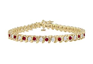 Ruby and Diamond Tennis Bracelet with 4.00 CT TGW on 18K Yellow Gold