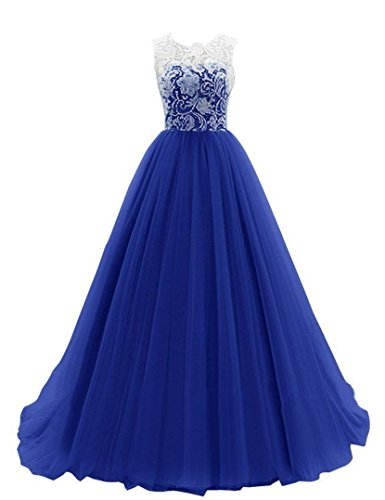 JY FASHION® Women's Ruched Sleeveless Lace Long Evening Dress Prom Gown #18