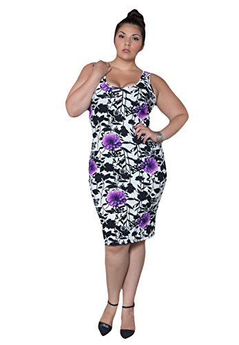 Sealed With A Kiss Designs Plus Size Cassie Tank Dress - Size 5X, Floralprint