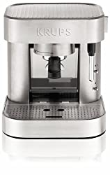 KRUPS XP601050 Manual Pump Espresso Machine with Thermo Block System and Stainless Steel Housing, Silver from Krups