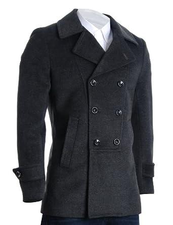 FLATSEVEN Mens Designer Double Breasted Winter Coat Wool
