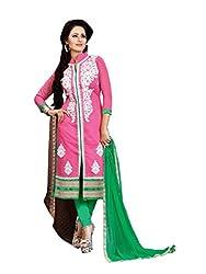 Subhash Sarees Daily Wear Pink Color Chanderi Salwar Suit Dress Material