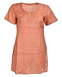Geroo Women's Pure silk kurta with sequins Round Neck Tops (TOS-2, Peach, 40)