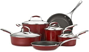 Kitchenaid gourmet aluminum nonstick 10 piece cookware set red shop till you drop - Kitchenaid aluminum nonstick piece cookware set ...