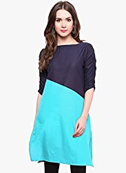 Varibha Girl's Branded Stitched Solid Sky Blue Cotton Silk Low Price Kurti (Best Gift For Your Friend, Girlfriend, Wife, Sister, Casual, Free Size alterable till 42)