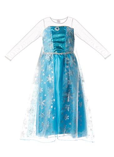 Vestido de la reina de la nieve Elsa de Frozen, para niñas, de Fairy Tale Designs - Talla para edades de 6-7