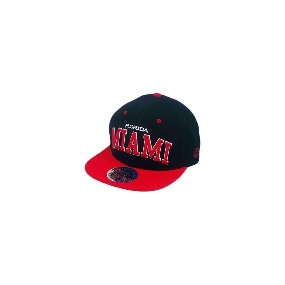 44a54c6241e HAT CAP GORRA CHAPEU SNAP BACK MIAMI FLORIDA FLAT BILL BLACK RED CITY HUNTER