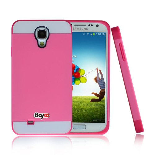 #!  Bayke Brand / Samsung Galaxy S4 Mini I9190 (MINI ONLY) Hybrid TPU 2PC Layered Hard Case Rubber Bumper Armor Case with Inner Shell (Hot Pink)