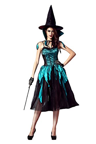 [Women's Bewitching Beauty Fairy Witch Adult Halloween Costume (Black & Blue)] (Princess Bride Halloween Costumes)