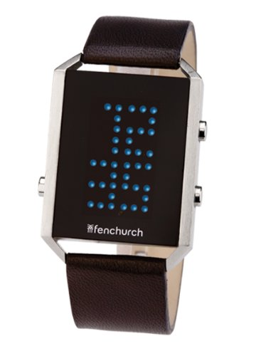 Fenchurch Gents Black Leather Strap LCD Watch