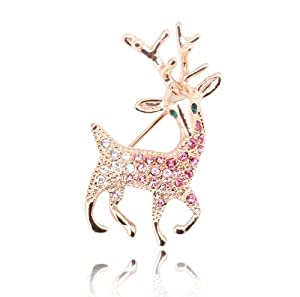 Sparkly Pink Purple Tone Swarovski Crystals Inlay Christmas Rudolph Reindeer Animal Brooches Pin BR130