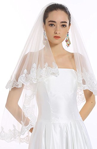 Passat White 2 Tiers 2T 90CM Short Lace Wedding Bridal Veil H005 Size 2T(1st tier 60CM/24