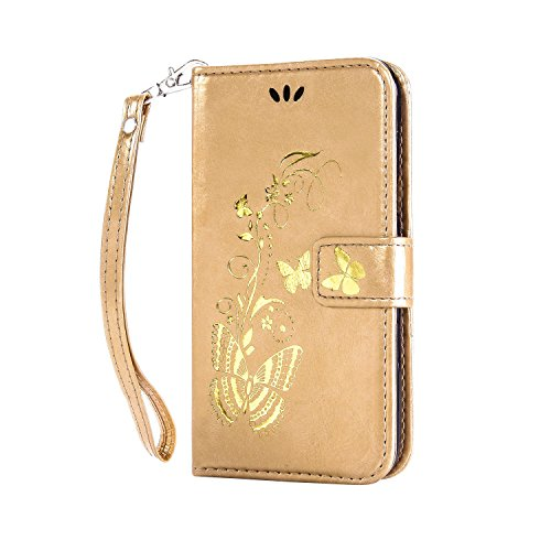 Cozy Hut ® Samsung Galaxy S6 Cuir Coque Bronzante Papillon Fleur,Papillon d'or floral motif Case Etui Protection Coque Cover PU Cuir Flip Housse