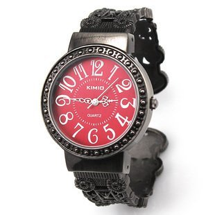 Kano Bak Womens Ladies Retro Vintage Antique Bangle Bracelet Wrist Watch Red Round Dial