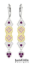 .925 Sterling Silver with 24K Yellow Gold Plated over .925 Sterling Silver Earrings by Lucia Costin with Triangle Shaped Filigree Elements, Lilac and Violet Swarovski Crystals, Adorned with Lovely Charms; Handmade in USA
