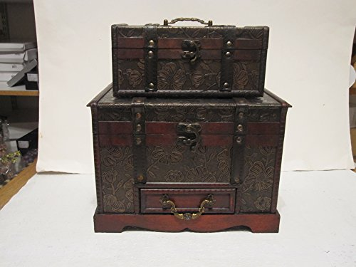 Antique Looking Wood Faux Leather Jewelry Box Treasure Chest Set of 2