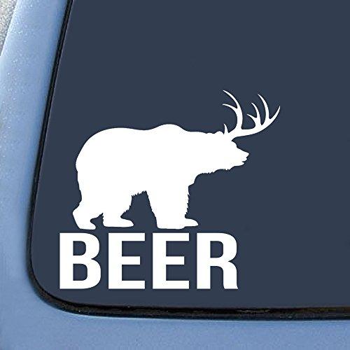 Bargain Max Bear + Deer = BEER? Funny Vinyl Decal Sticker Decal Notebook Car Laptop 5.5