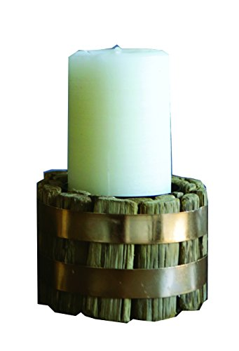 Banad Metal Pillar : Creative co op wood pillar holder with metal band inch