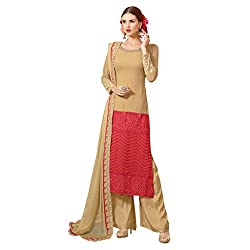 Admyrin Women Beige and Red Georgette Dress Material