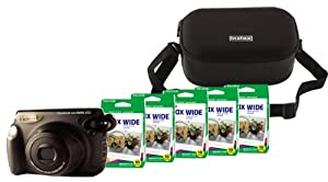 Fuji Instax 210 Instant Camera + 210 Case (Black) + 5 Twin Pack Film (100 images)