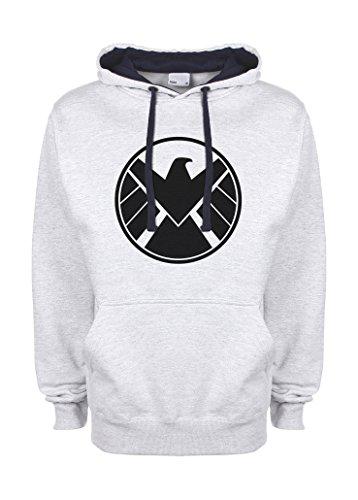 Agents Of S H I E L D Shield Cool Logo grigio / blu scuro Qualità Superiore Felpa con Cappuccio Unisex X Large