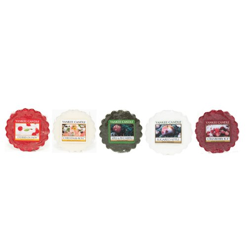 Yankee Candle - 'Festive Fruits & Flowers': 5 Assorted Scented Wax Tarts (Including: 1x Cherries On Snow, 1x Cranberry Ice, 1x Apple & Pine Needle, 1x Sugared Apple, 1x Christmas Rose)
