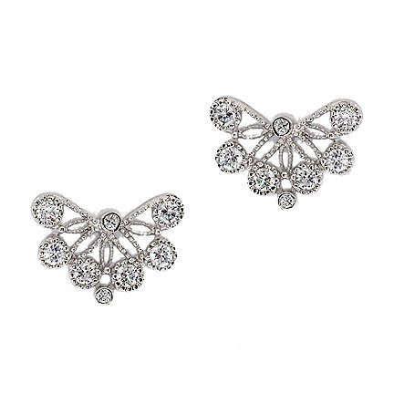 Stefanie's 925 Sterling Silver Stud Earrings Hal Bezel Set Sparkling Cubic Zirconia Lace Design - Incl. ClassicDiamondHouse Free Gift Box & Cleaning Cloth