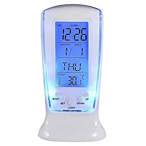 Vktech New LCD Digital Alarm Clock Calendar Thermometer Blue LED Backlight