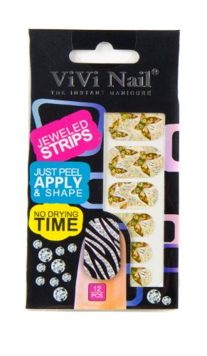 ViVi Nail ヴィヴィ ネイルシール 貼るだけ jeweled strips NS014ー611# バタフライ