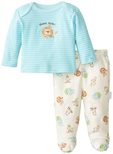Vitamins Baby Baby-Boys Newborn Safari 2 Piece Footed Pajama Set, Blue, 6 Months