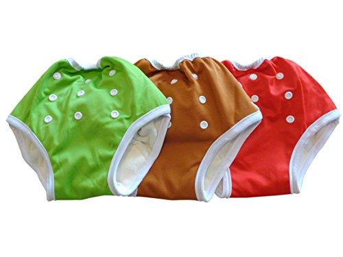 Three Little Imps Kleinkinder Trainingshose mit Knöpfen 8-35+ Pfund - rot / grün / braun - 3er Set