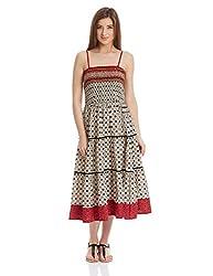 Shree Women's Cotton A-Line Dress (16109A_Cream and Multicolor_S)