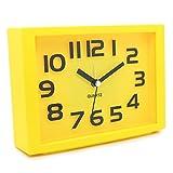JCC Decorative Colorful Rectangle Quartz Analog Silent non ticking sweep second hands Bedside Desk alarm clock (Yellow)